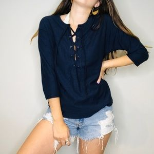 Madewell navul blue lace up long sleeve top